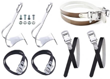 Chrome Steel Racing Bike Toe Clips with Nylon or Leather Straps Sizes M, L, XL